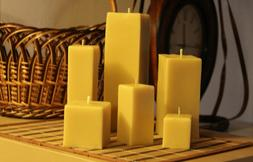 Handmade 100% Pure Beeswax Rectangular Square Candles Cotton