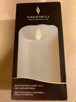 "Luminara 3"" x 6""  Vanilla Scented Pillar  candle ivory color"