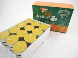 36 Hand Poured Beeswax Tea-Light Candles in NATURAL - Metal