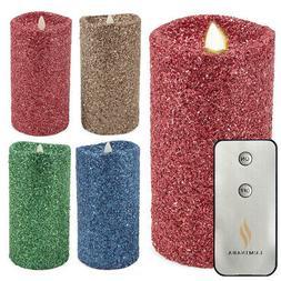 "Luminara 7"" Flameless Candle Pillar Glitter LED Light Real"