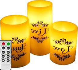 EGI - Set of 3 Flickering Flameless Candles With Remote Cont