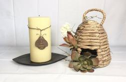 Beeswax Pillar Candle Crate and Barrel Honeycomb Set Metal L