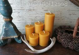 🐝 Handmade Beeswax Pillar Candles 100% Natural Honey Bees