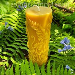 Beeswax Pillar Fern Candle / 100% Natural Bees Wax / Hand ma