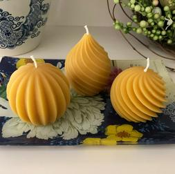 Elegant Beeswax Candle Set / Pear / Spiral / Melon / All Nat