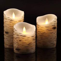 Vinkor Flameless Candles Flickering Candles Birch Bark Set o