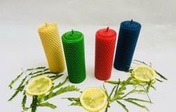 Four 100 % pure Beeswax candles Honeycomb taper Pillar Hand-