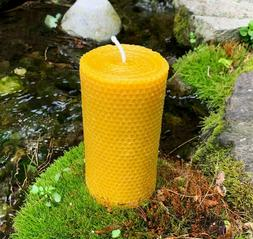 Honeycomb Beeswax Pillar Candle / Handcrafted in USA / Pure