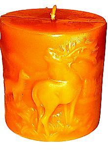 Pure Beeswax Decorative Pillar Candles - Deer Scene Figurine