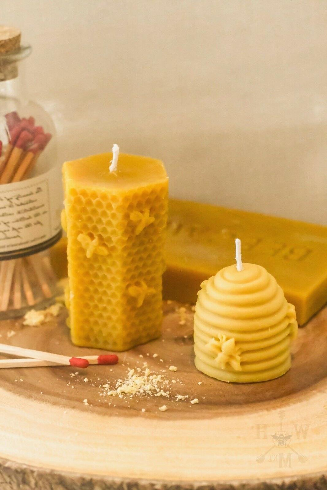 set of 2 natural beeswax candles hand