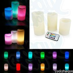 LED Ivory Flickering Flameless Candles -Set of 3  Multicolor
