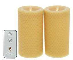 Martha Stewart 7 inch Flameless Beeswax Pillars - Set of Two
