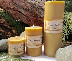 """Pure Beeswax Pillar Candle 2-7/8""""w 100% Hand Poured Montana"""