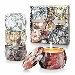 Scented Candles Gifts Set for Women,100% Soy Wax Portable Ti