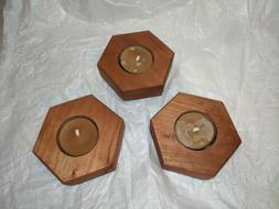 Set of 3 Handmade Geometric Solid Wood Candle Holders w/ Bee