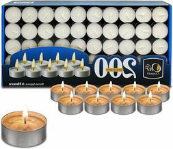 Tea Light Candles - Bulk Pack - White Unscented, 4 hours bur