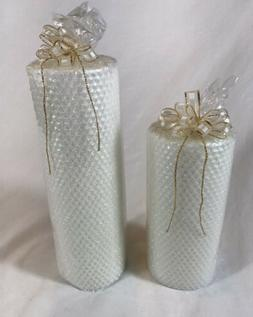 Villeroy & Boch White Bees Wax Sparkly Pillar Candles Set Of
